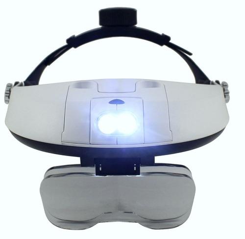 super lupa de cabeça profissional 2 super leds + 5 lentes
