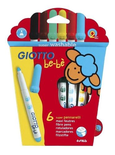 super marcadores giotto bebe 6 colores gruesos - no toxico