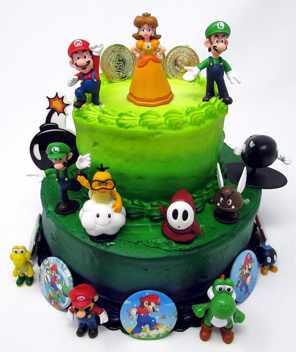 Super Mario Bros Figuras De Decoración Pastel Cumpleaños