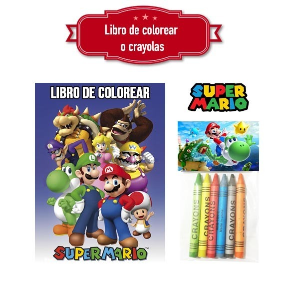 Super Mario Bros Libro Colorear O Crayolas Bolo Recuerdo - $ 9.00 en ...