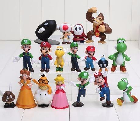 super mário coleção kit 18 miniaturas nintendo frete gratis