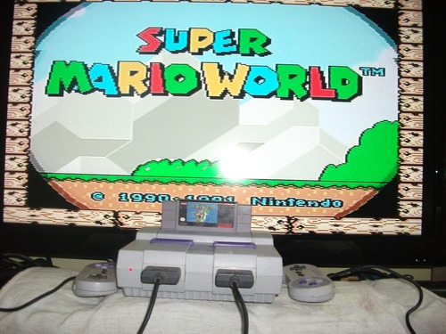 super nintendo completo + 2 controles original + mario world