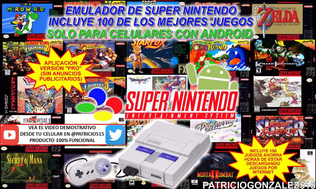 Super Nintendo Snes Para Celular Con Android 100 Juegos Bs 12 00
