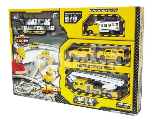 super pista 4 vehículos de metal 29 piezas track enginnering