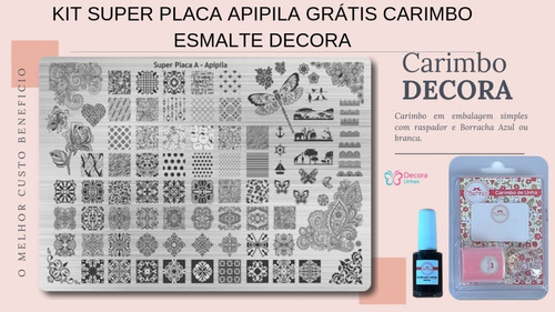 super placa apipila a + frete + carimbo + esmalte  kitspa