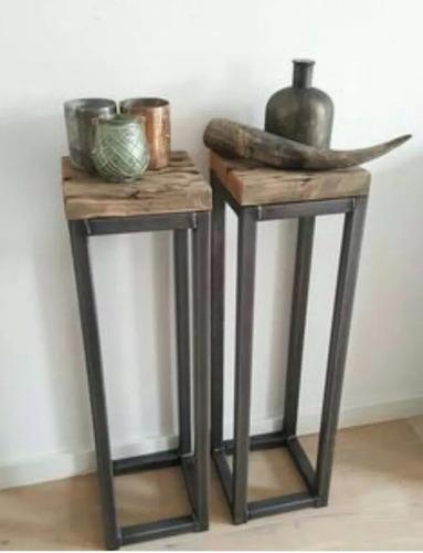 super promo mesa auxiliar rustica y madera segunda al 25%