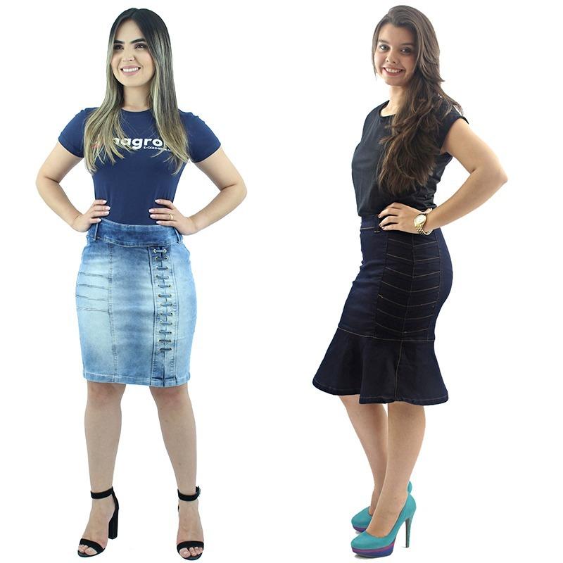 8fe5b60d6a Super Promoção! 2 Saias Secretária Evangélica Jeans - R  114