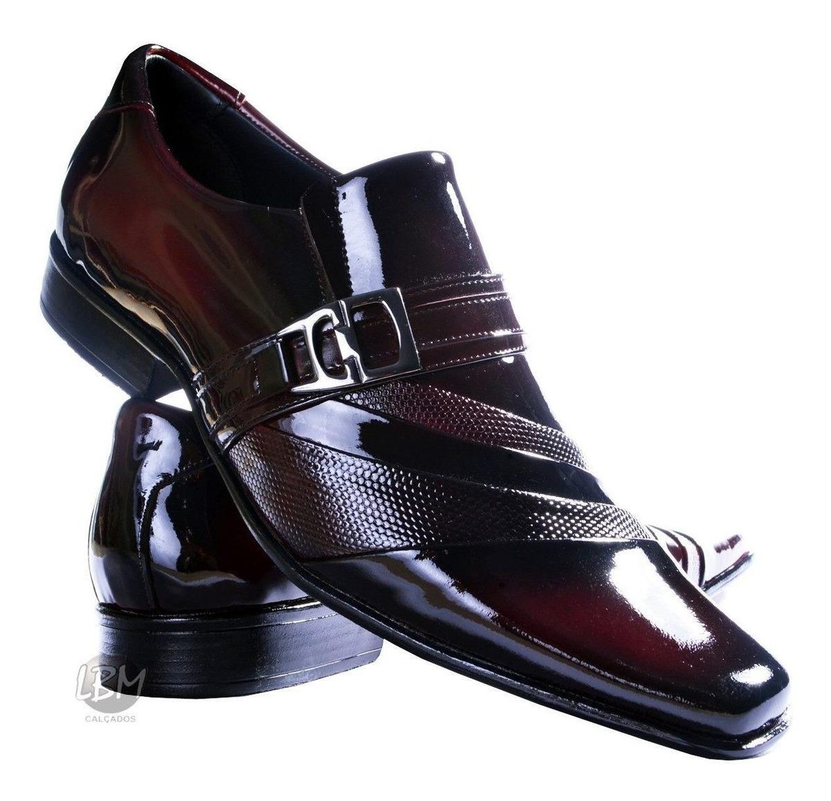 e33f6b80d7 super sapato social masculino italiano couro verniz vinho. Carregando zoom.