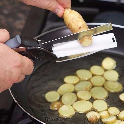 super tesoura legumes verduras 2 em 1 clever cutter original