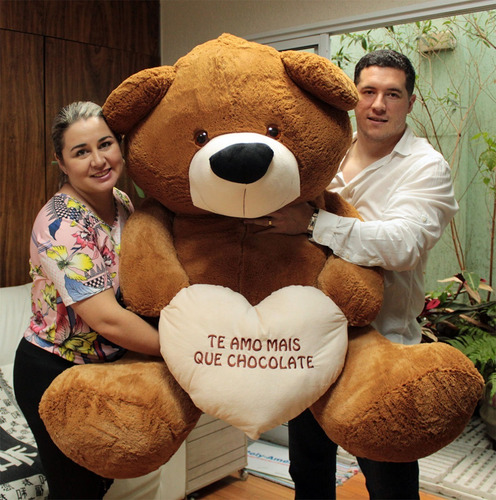 super urso big teddy creme branco pelúcia gigante 130x90 cm