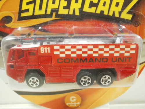supercarz camion command unit de bomberos rojo 1:64