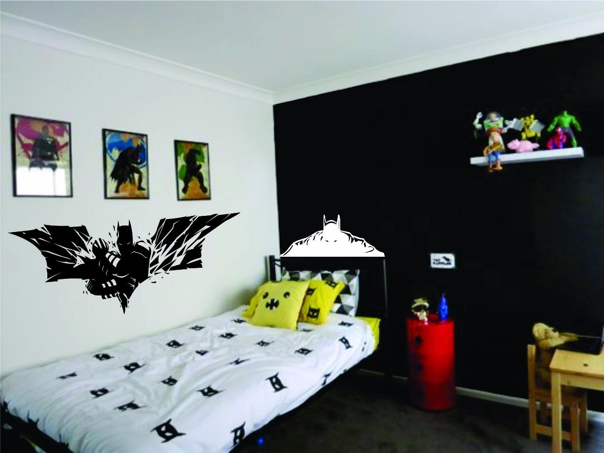 Superheroes batman respaldo cama vinilo decoracion cuarto for Habitacion despacho decoracion