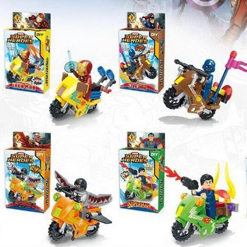 superheroes superman tipo lego ironman spiderman con moto th