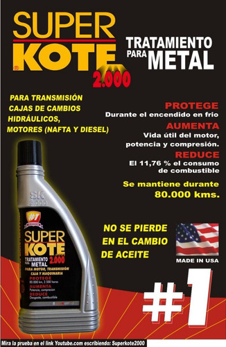 superkote 2000 4oz - tratam p/metal.para motos -made in usa