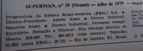 superman formatinho ebal - nº 39 julho 1979