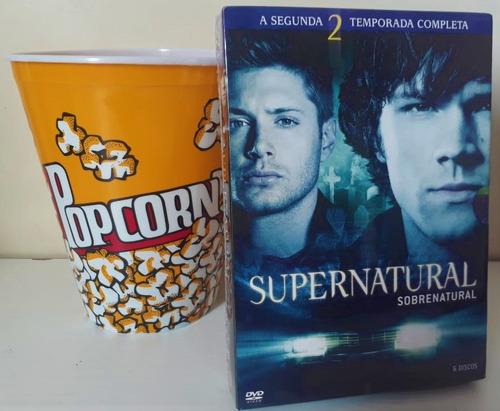 supernatural 2° temporada box + balde de pipoca de brinde