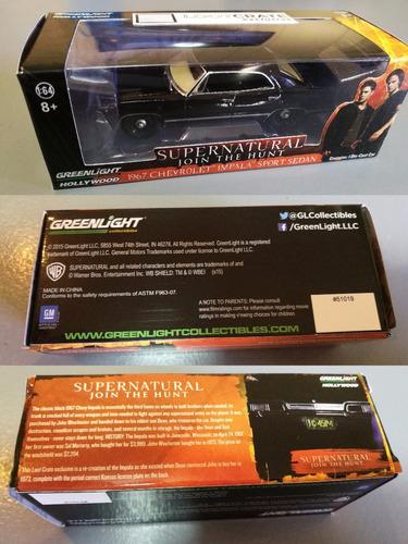 supernatural - impala 1967 - escala 1:64 - greenlight -único