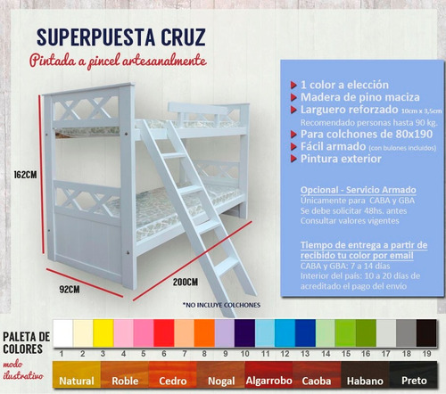 superpuesta marinera cruz romana pintada color elección.