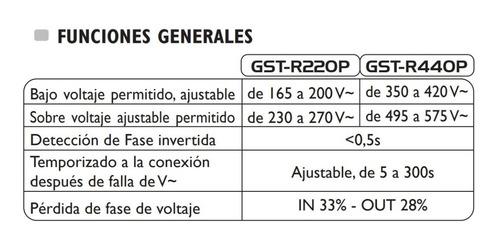 supervisor de voltaje cargas motores trifasico exceline 220v