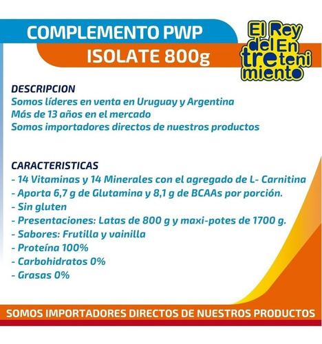 suplemento pwp whey protein isolate 800g + theraband! el rey