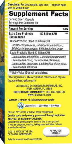 suplemento ultimate flora probiotico 50 billion renew life