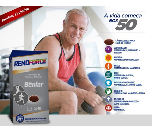 suplemento vitamina renoforce senior 60 cápsulas