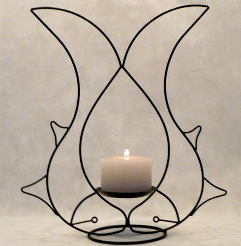 suporte 2 peixes porta vela decoração castiçal candelabro