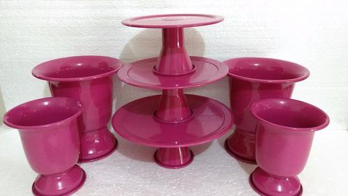suporte 3 bandejas alumínio bolo pink + 04 vasos