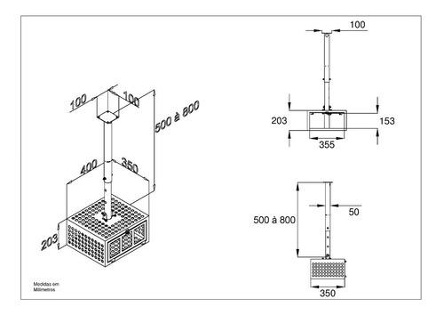 suporte antifurto gaiola preto projetor regulagem multivisão