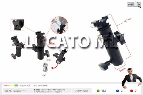 suporte articulado tipo e p/ flash speedlight + frete grátis