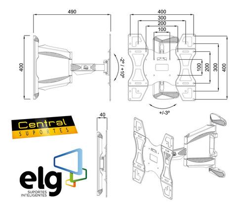 suporte articulado tv 26a 55 led plasma 3d em02v4 branco elg