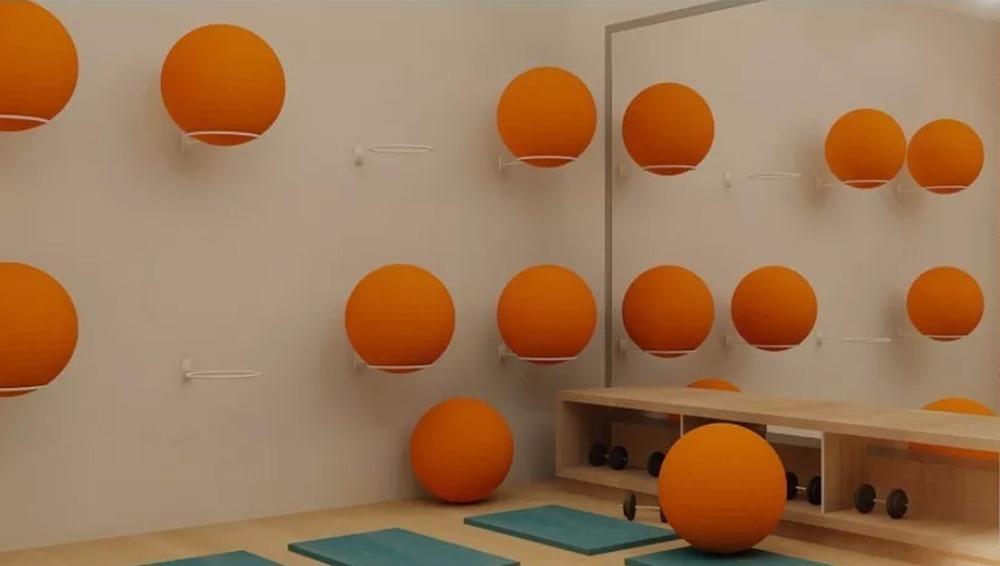 suporte bola suiça pilates de parede branco. Carregando zoom. e7b121d77259a
