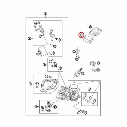 suporte borracha central efi ktm 250-500 sx/xc-f/w exc 11-16