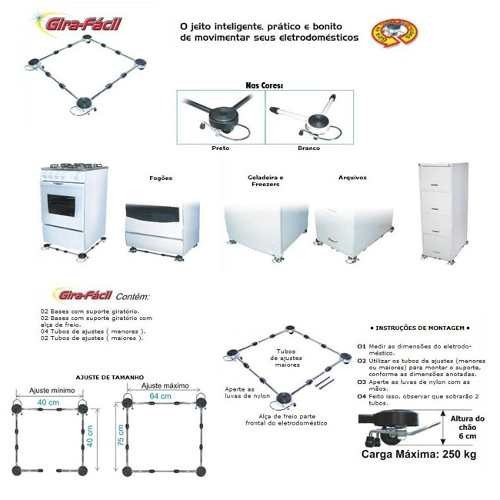 suporte c/ rodinhas p/ máquina, fogão, geladeira (branco)