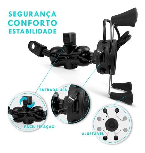 suporte celular articulado moto com carregador usb universal