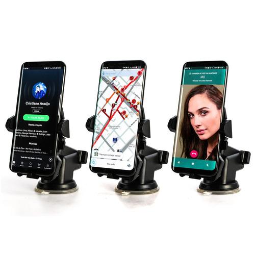suporte celular gps carro veicular sp-62 trava automática