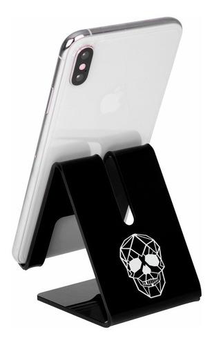 suporte celular mesa smartphone gravado caveira geométrica
