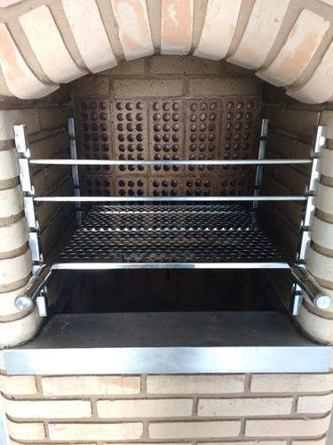 suporte churrasqueira alvenaria tb + grelha inox 60cm e 65cm