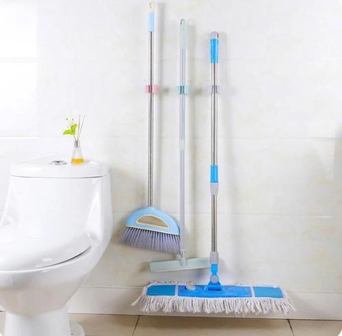 suporte de banheiro para vassouras rodo pá taco com 3 peças