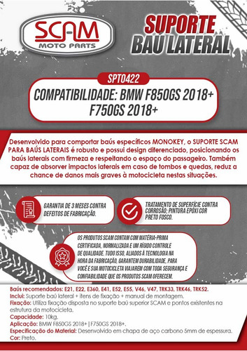 suporte de bau mala lateral monokey bmw f750 gs f800 gs 2018