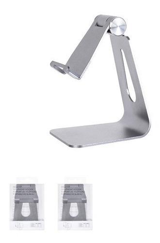 suporte de celular para mesa cinza - miniso