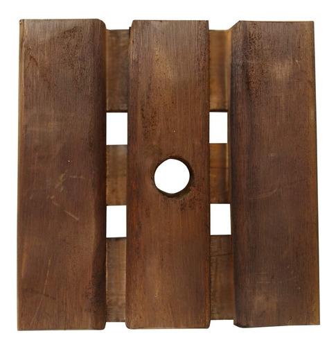 suporte de madeira para vaso rodizio silicone 30x30 quadrado