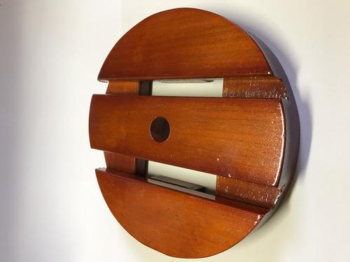 suporte de madeira para vasos redondo 25cm roda gel silicone