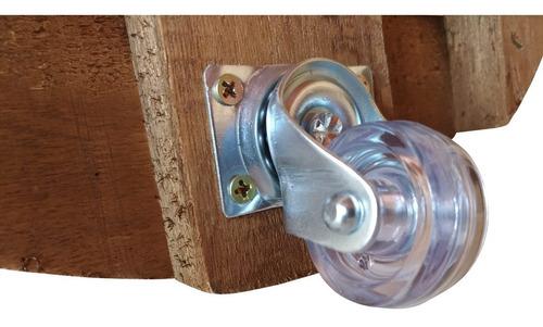 suporte de madeira tratada para vasos 35x35 redondo 6 rodiz