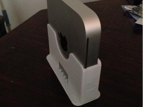 suporte de mesa vertical para 1 mac mini com guia para cabos