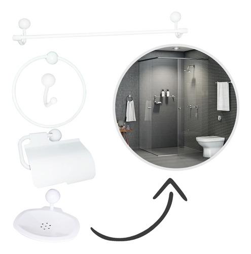 suporte de papel com jogo de banheiro - branco 5 peças