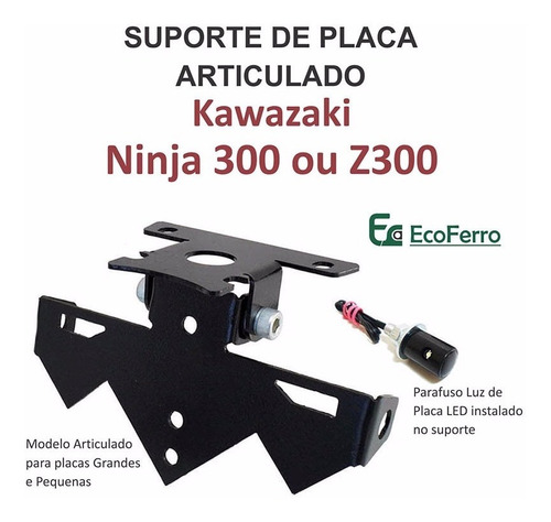 suporte de placa eliminador rabeta ninja 300 ou z300