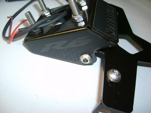 suporte de placa yamaha r6 2006-2015 luz de placa incluida