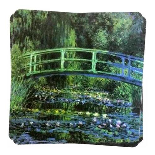 suporte de pratos e copos pintura de monet water lily pond