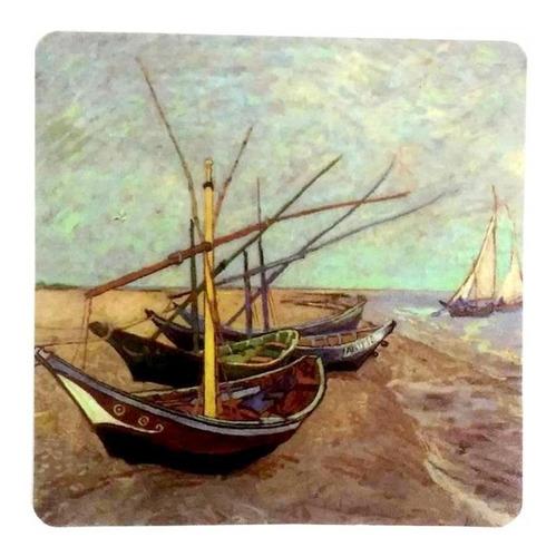 suporte de pratos e copos pintura de van gogh boats fishing